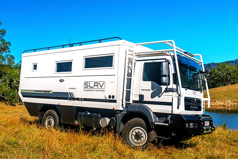 SLRV Commander next to a stream, the most extreme vehicle on our list of the Best RVs